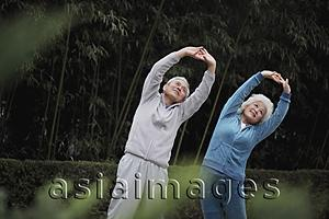 Asia Images Group - Older man and woman stretching together outdoors